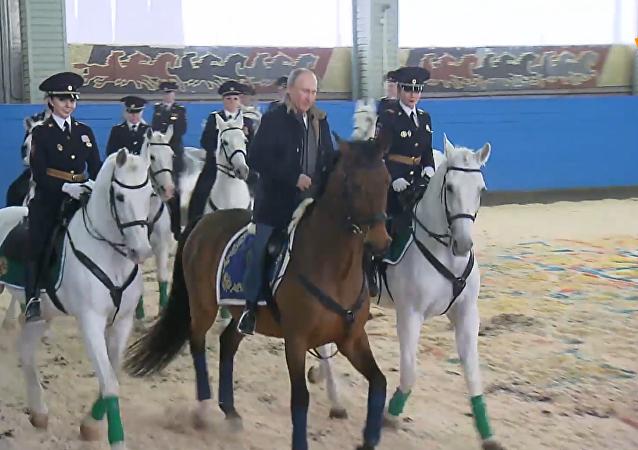 普京视察莫斯科警察局骑上警马遛弯