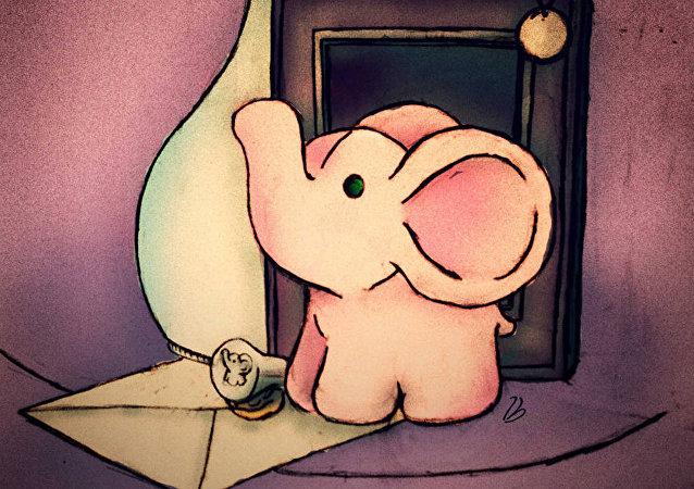 南非发现了一头粉红色幼象