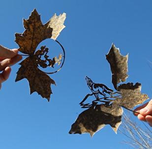 哈萨克艺术家在落叶上作画