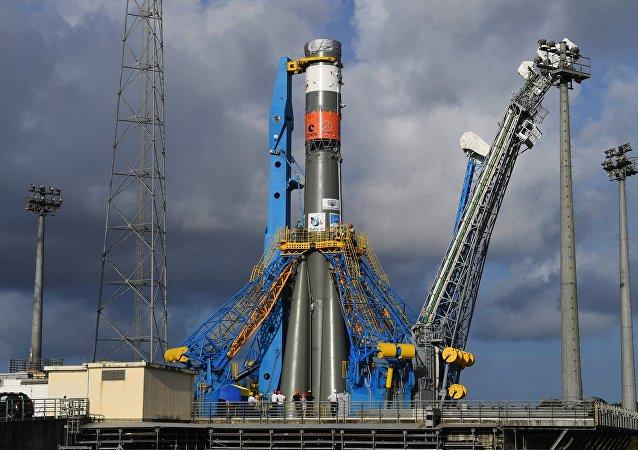 俄羅斯「聯盟」號運載火箭在法屬圭亞那太空中心(資料圖片)