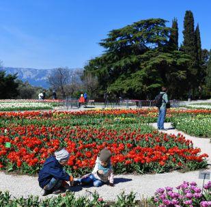 克里米亞尼基塔植物園裡的遊客。