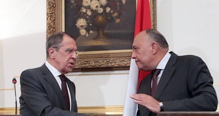 俄外长拉夫罗夫与埃及外长