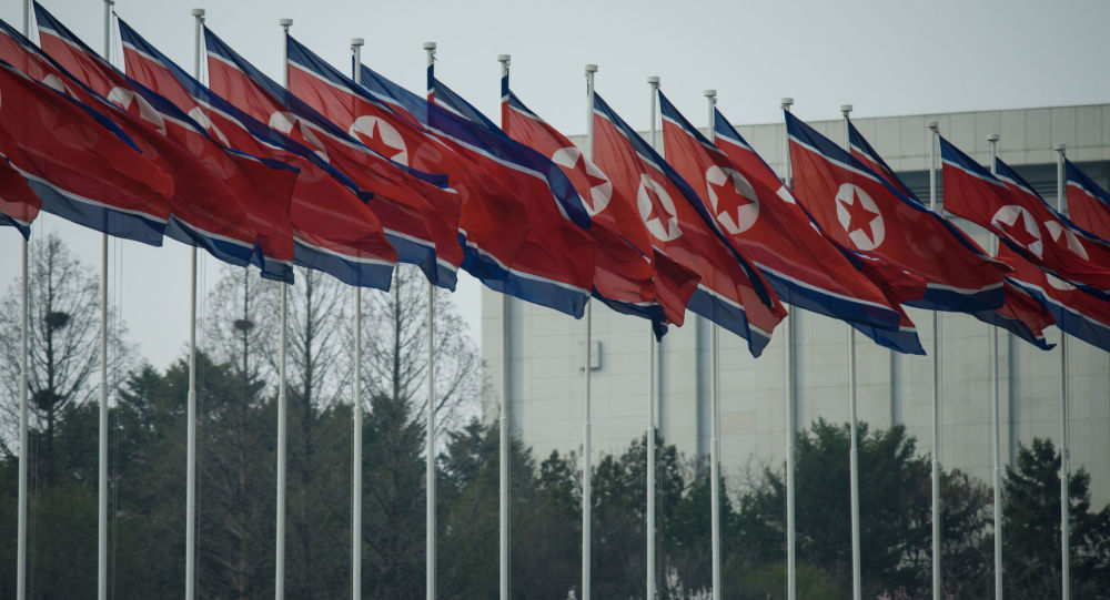 Флаги Северной Кореи в Пхеньяне