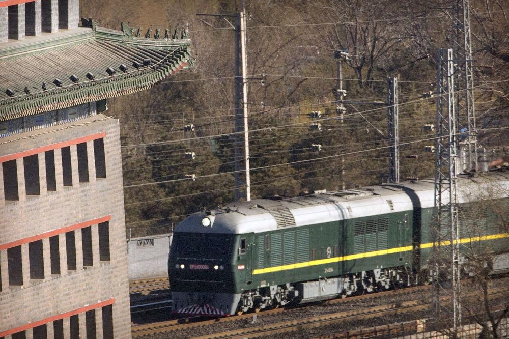朝鲜最高领导人金正恩的专列现身北京火车站。