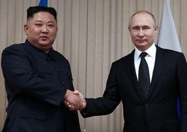金正恩與普京會晤時