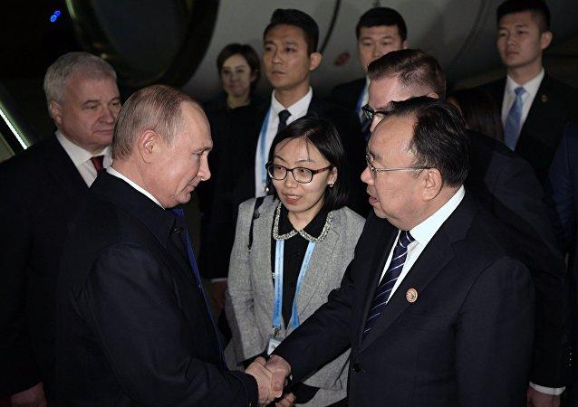 俄羅斯總統普京抵達中國北京