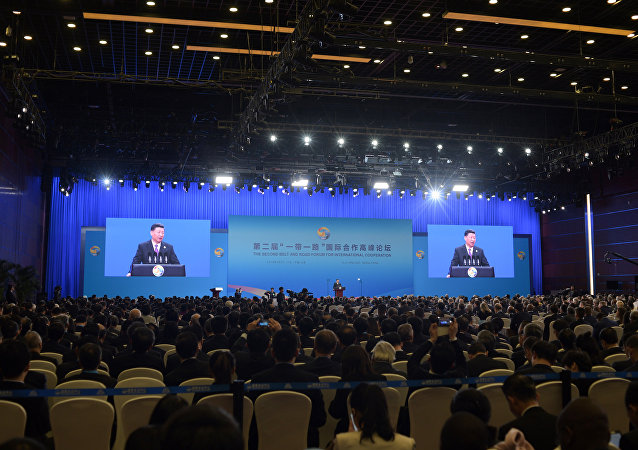 Chinese President Xi Jinping speaks during the opening ceremony of the Belt and Road Forum in Beijing in April 26, 2019.