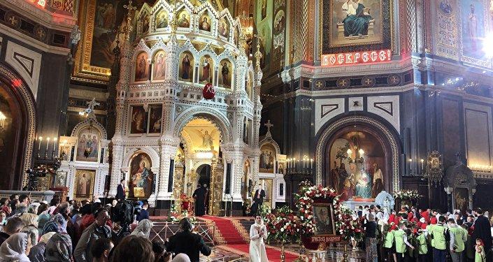 基督救世主大教堂内庆祝复活节