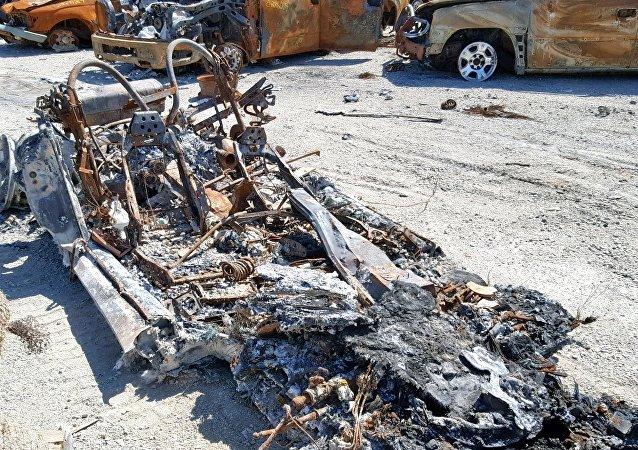 燒毀的法拉利F355主體在拍賣會上出售