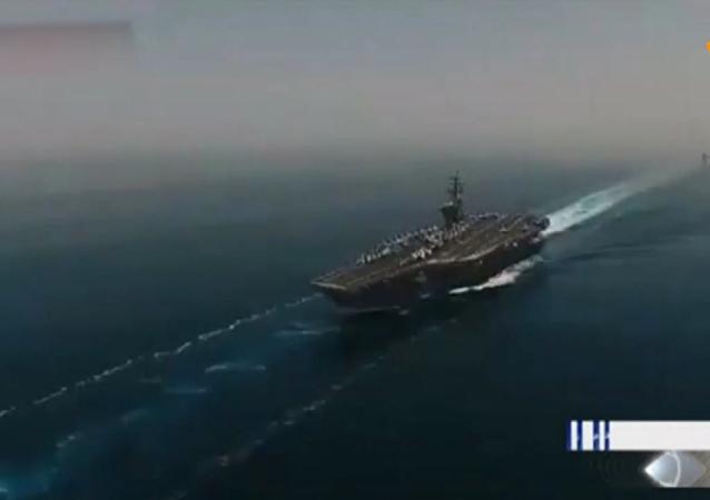 伊朗无人机拍到美国航母现身波斯湾