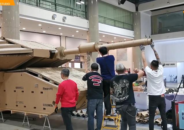 中国模型专家纸板打造以色列Merkava MK4坦克