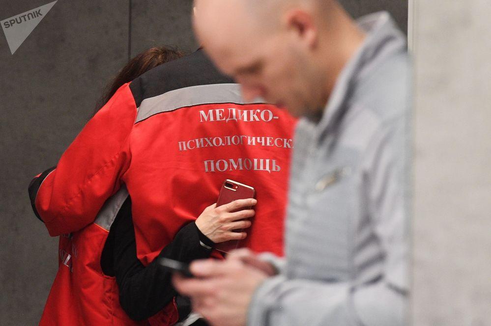 谢列梅捷沃机场提供医疗和心理服务的工作人员