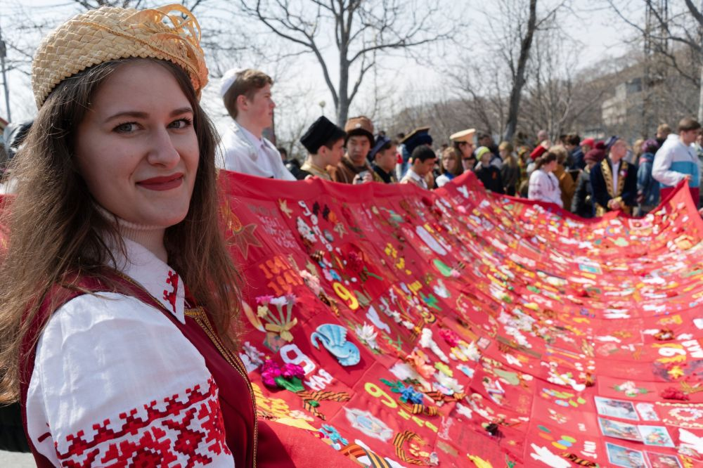 堪察加彼得罗巴甫洛夫斯克不朽军团游行活动参与者