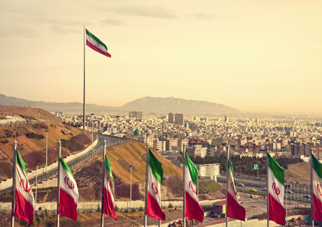 Государственные флаги Ирана на фоне Тегерана