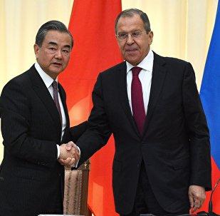 中国外长王毅和俄罗斯外长拉夫罗夫
