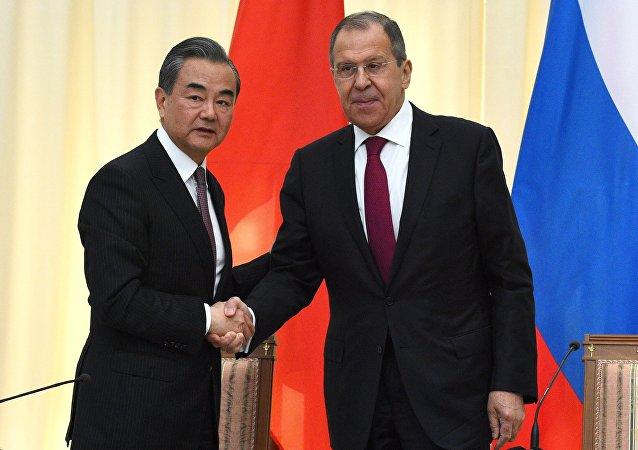 中國外長王毅和俄羅斯外長拉夫羅夫