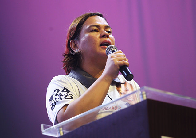 Sara Duterte, Davao City Mayor and daughter of Philippine President Rodrigo Duterte, delivers a speech during a senatorial campaign caravan for Hugpong Ng Pagbabago in Davao City
