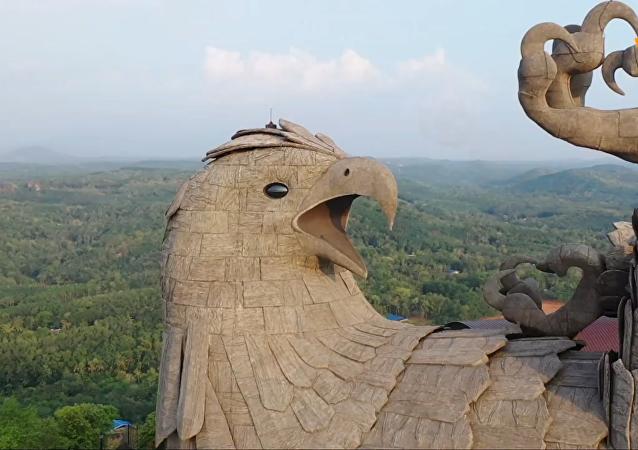 世界上最大的鳥類雕像航拍