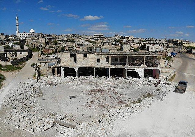 Панорама селения Кансфра в провинции Идлиб, Сирия. 8 мая 2019
