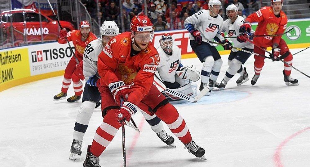 俄羅斯冰隊球在四分之一決賽中戰勝美國隊