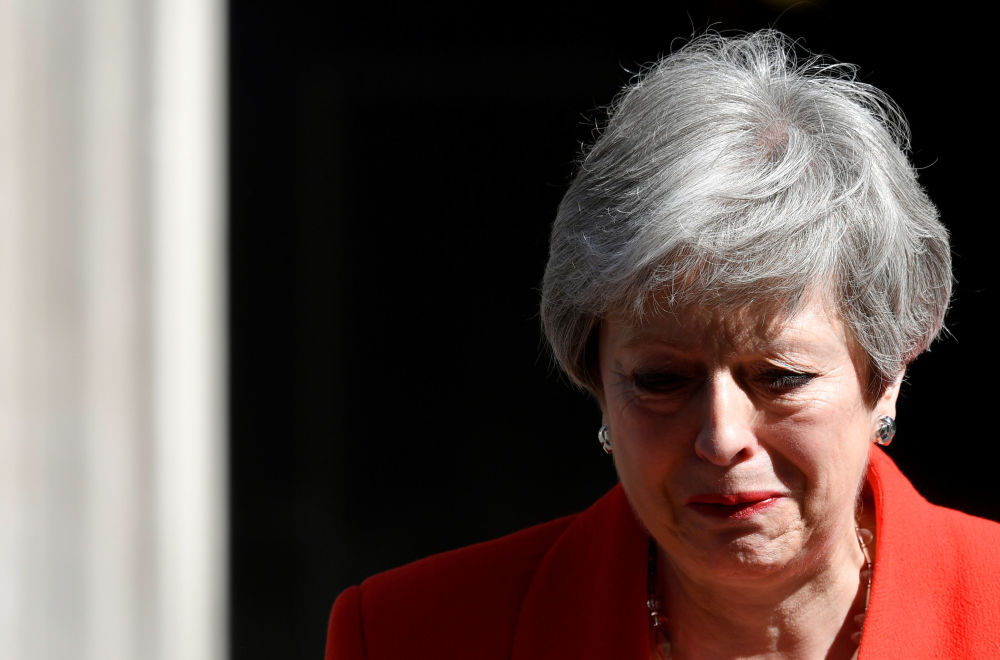 英国首相特雷莎·梅在英国伦敦发表辞职声明。
