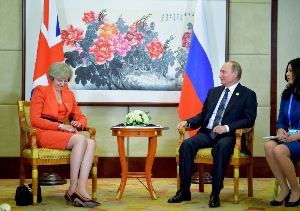 英国首相特蕾莎·梅和俄罗斯总统普京在杭州G20峰会上。