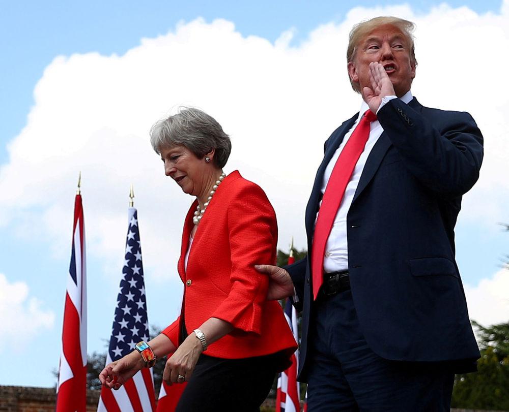 英国首相特蕾莎·梅和美国总统唐纳德·特朗普。