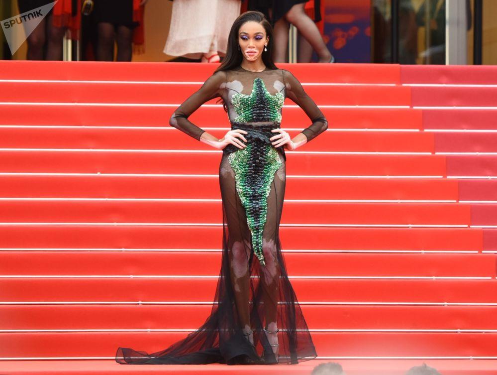 .第72届戛纳国家电影节电影《我的天啊!》红毯上的加拿大时尚模特温妮·哈洛