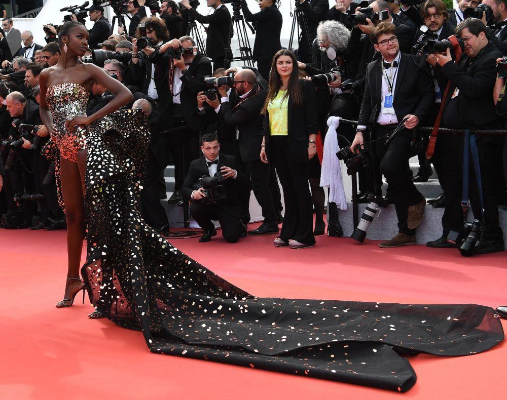 第72届戛纳国际电影节电影《好莱坞往事》红毯上的英国模特莱奥米·安德森