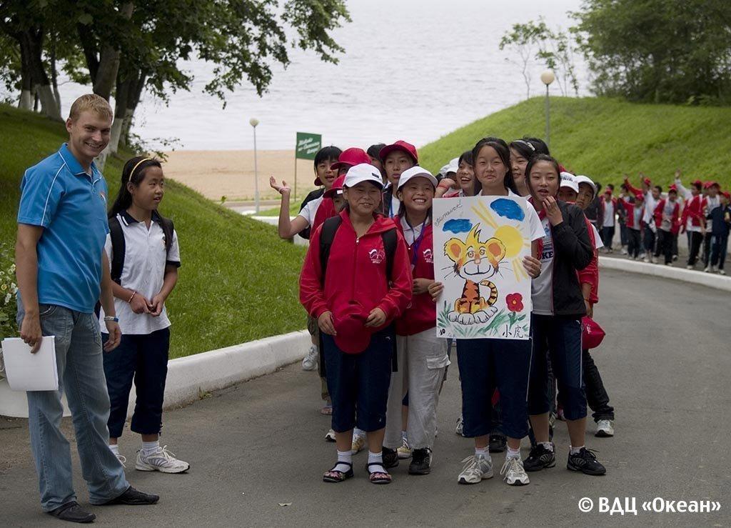 """中国学生在全俄""""海洋""""儿童疗养中心"""