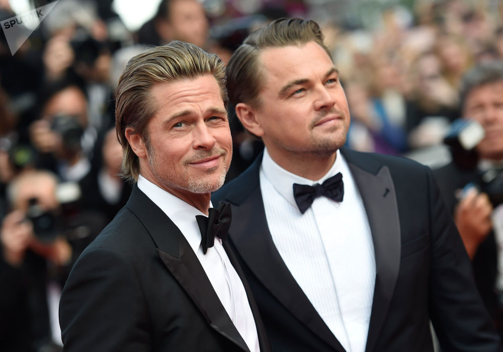 第72届戛纳国际电影节红毯上的美国演员布莱德∙彼特和莱昂纳多∙迪卡普里奥。
