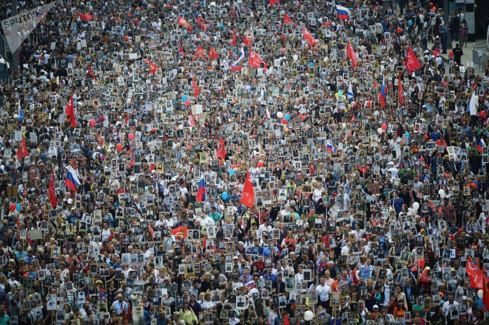 """莫斯科""""不朽军团""""活动的参与者。"""