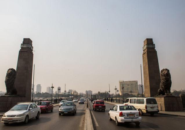 埃及尼羅河上的吊橋