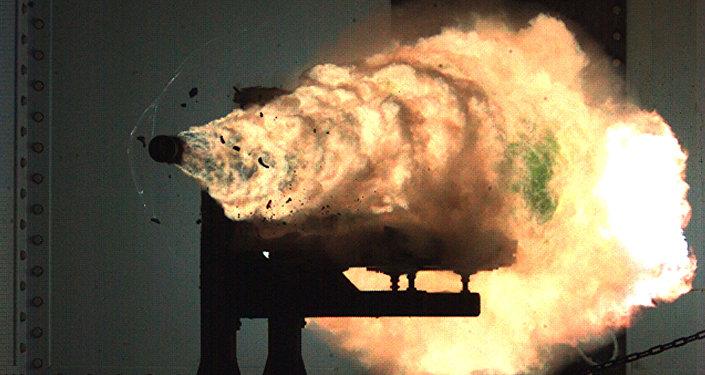2008年1月,美国海军水面作战中心的轨道炮测试
