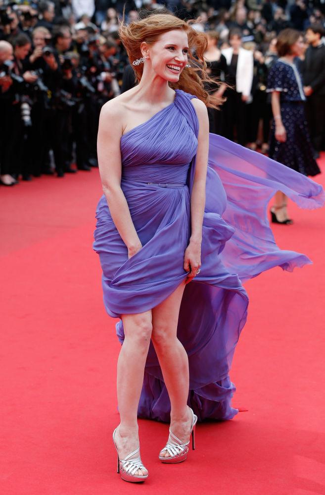 美國女演員傑西卡·查斯坦2014年現身戛納電影節出席電影《狐狸獵手》首映禮。