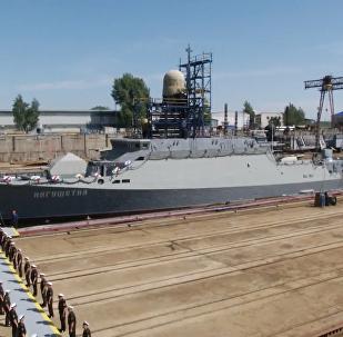 """俄罗斯""""印古什""""号小型导弹舰下水"""