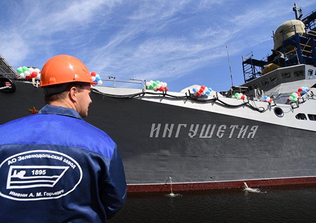 俄「印古什」號小型導彈艦下水