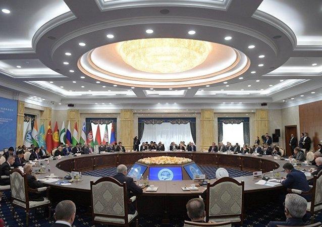 普京在上合作峰會期間同巴基斯坦總理、白俄羅斯和伊朗總統進行交流