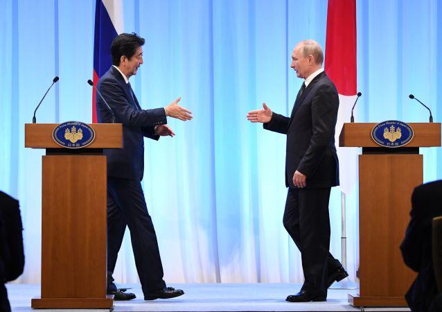 俄罗斯总统普京(右)和日本首相安倍晋三