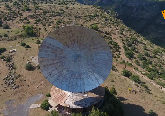 航拍亚美尼亚境内前苏联射电望远镜