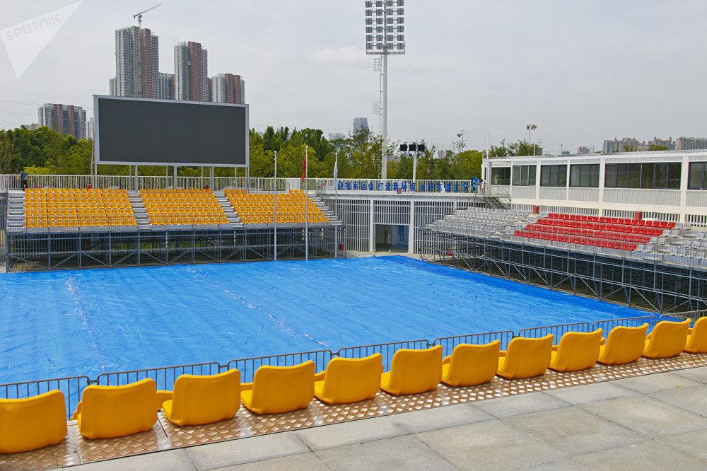 中国武汉2019第七届世界军人运动会的赛区之一:光谷。青山区沙滩排球中心