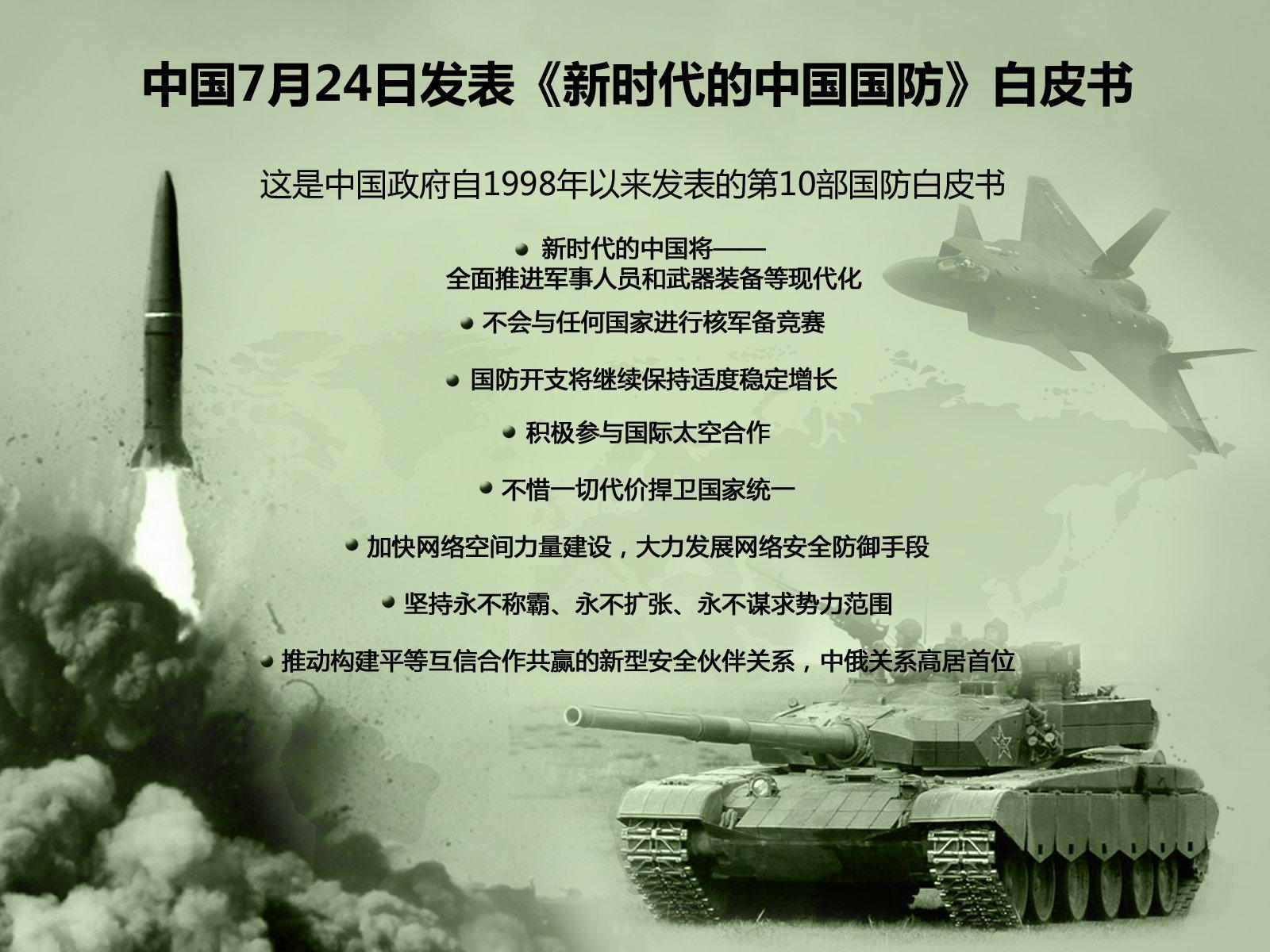 中国7月24日发表《新时代的中国国防》白皮书