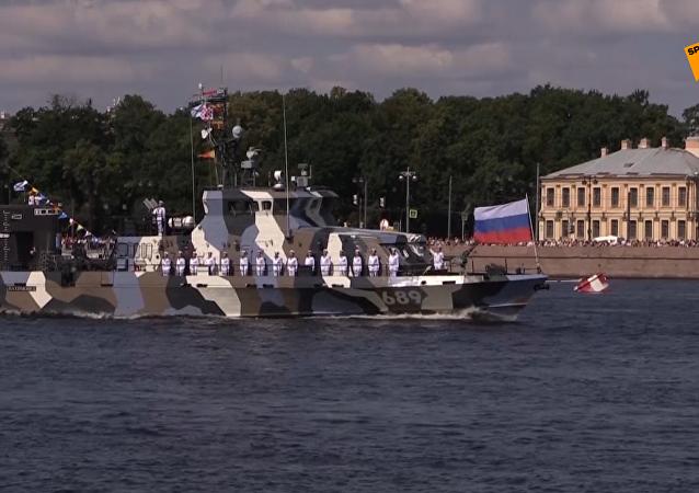 聖彼得堡舉行海軍日閱兵排練