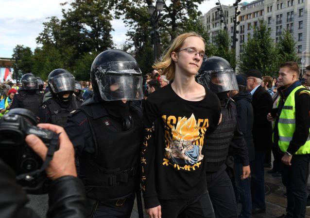 俄內務部:136人在莫斯科市中心未經批准的集會期間因各種違法行為被拘