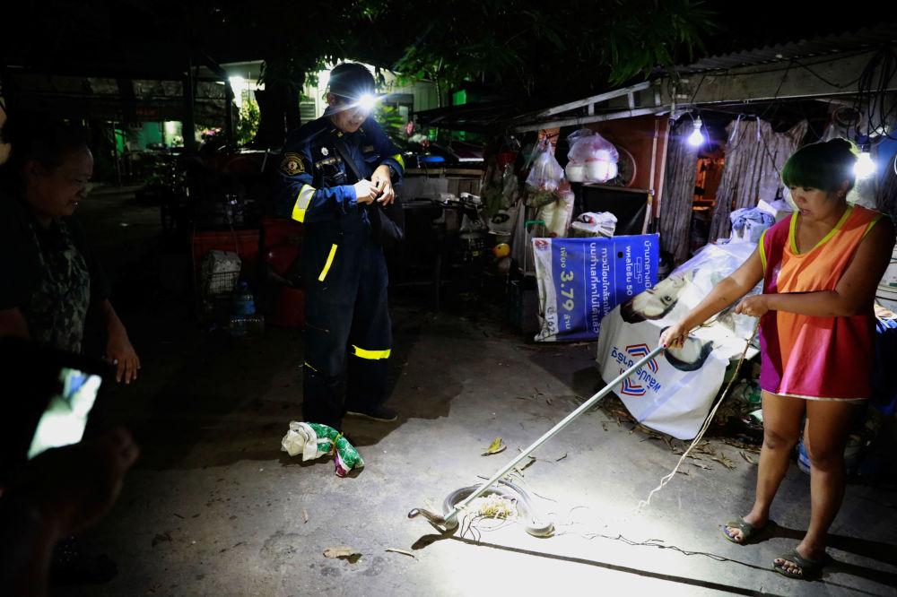 一名泰国女子在救援队赶来前手持棍子按住在自家捕到的眼镜蛇。