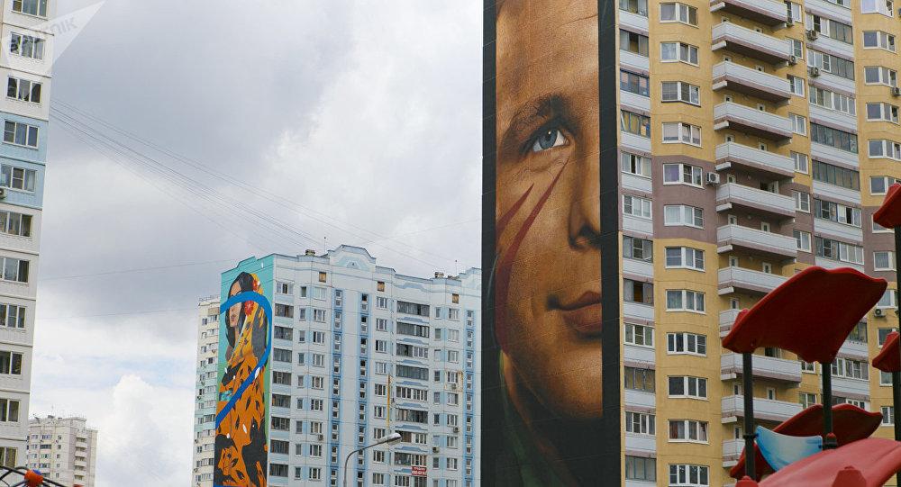高层住宅外墙上的隐藏密码:世界街头艺术家的涂鸦作品令莫斯科郊区住宅小区大变样