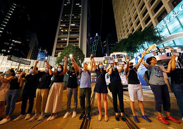 香港中学生在新学期第一天罢课