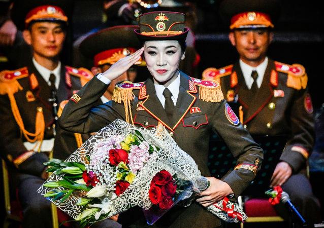 朝鮮人民軍軍樂團女兵亮相俄羅斯國際軍樂節