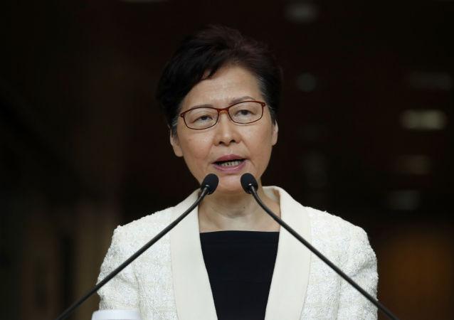 Глава Гонконга Кэрри Лэм на пресс-конференции