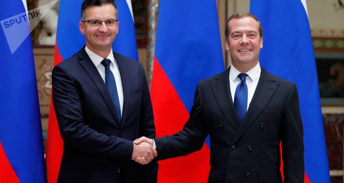 俄羅斯總理梅德韋傑夫與斯洛文尼亞總理沙雷茨